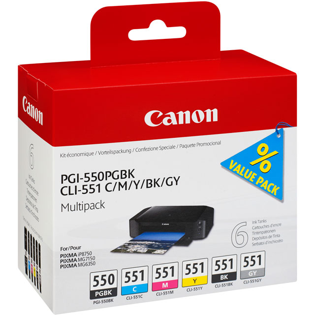 Canon PGI-550/CLI-551 PGBK/C/M/Y/BK/GY 6 Ink Cartridge Multipack