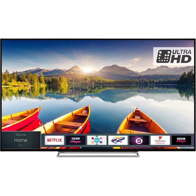 "Toshiba 65U5863DB 65"" Smart 4K Ultra HD TV with HDR and Freeview Play - Black Gloss - [A+ Rated] - 65U5863DB - 1"