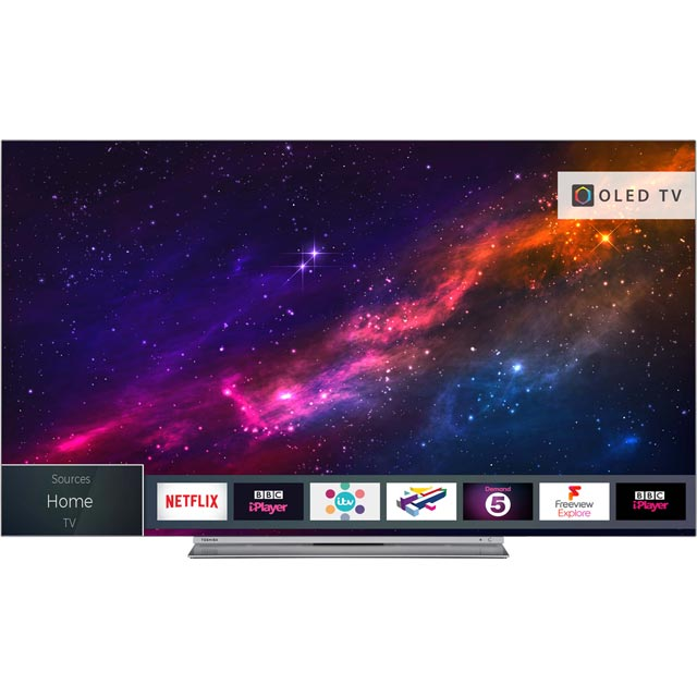 "Toshiba 65X9863DB 65"" Smart 4K Ultra HD OLED TV with HDR and Freeview Play - Silver - [A Rated] - 65X9863DB - 1"