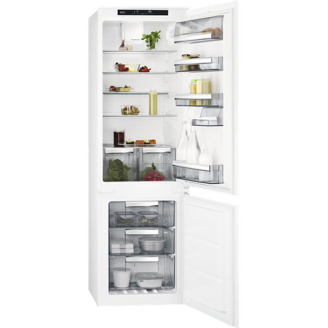 AEG SCE818F6TS Integrated Frost Free Fridge Freezer with Sliding Door Fixing Kit - White - F Rated