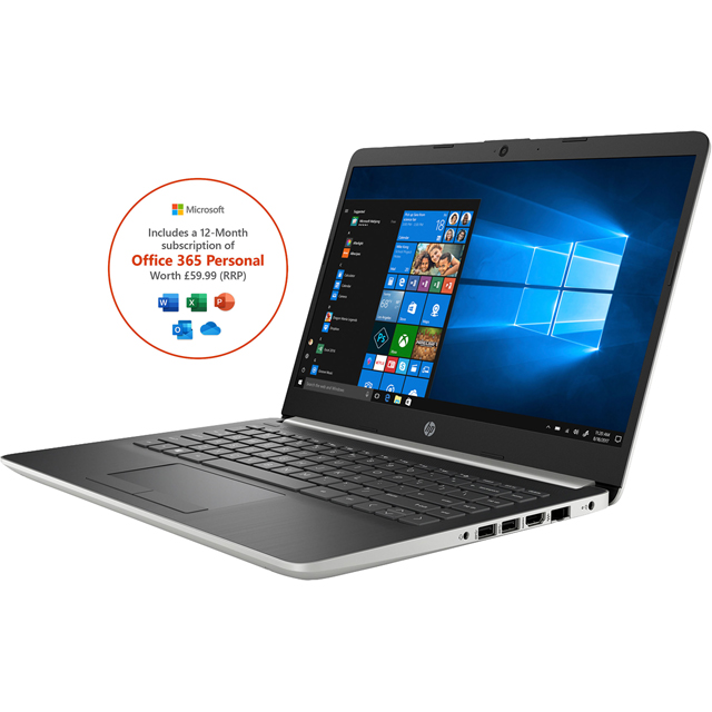 "HP 14-dk0008na 14"" Laptop includes Office 365 Personal 1-year subscription with 1TB Cloud Storage - Natural Silver - 6BL30EA#ABUBUN - 1"