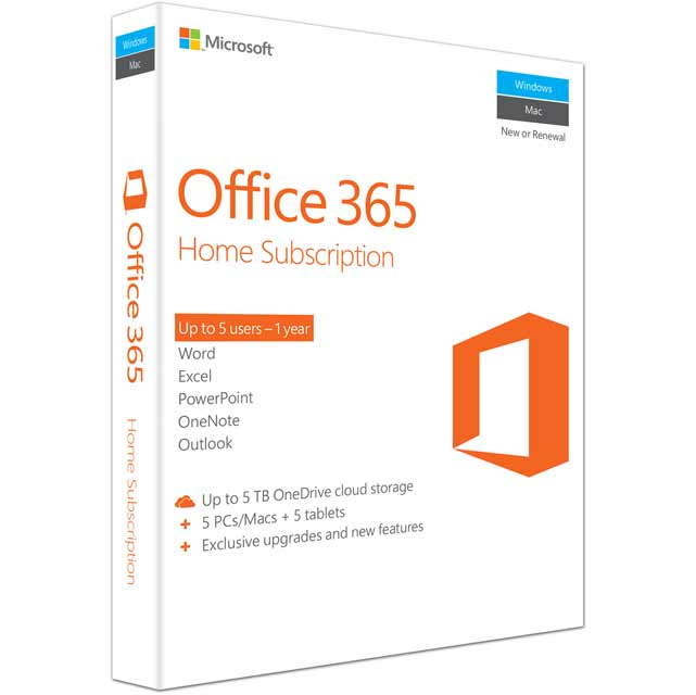 Microsoft Office 365 Home Digital Download for 5 Users - Annual Subscription