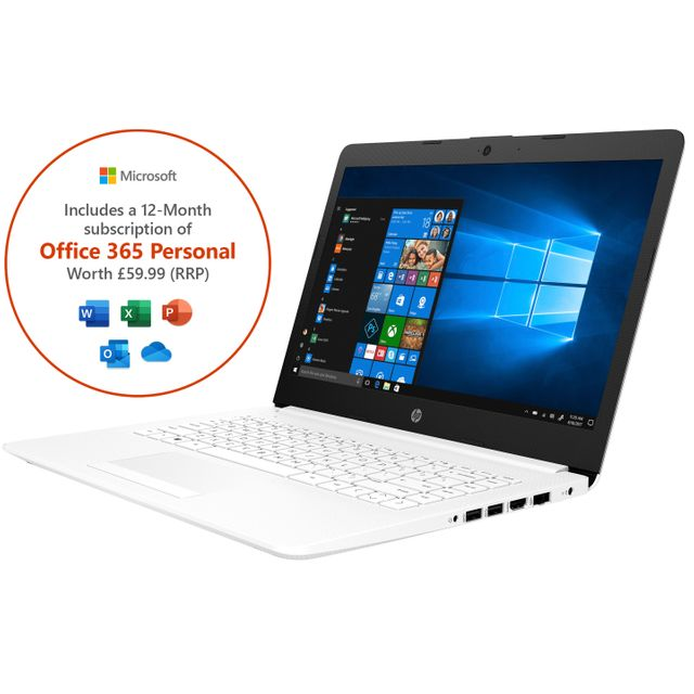 "HP Stream 14-cm0036na 14"" Laptop Office 365 Personal 1-year subscription with 1TB Cloud Storage  - White - 6ZJ47EA#ABU - 1"