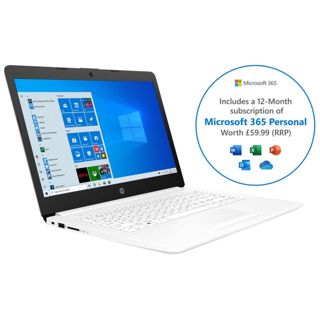 "HP Stream 14-cm0036na 14"" Laptop Includes Microsoft 365 Personal 12-month subscription with 1TB Cloud Storage - White"