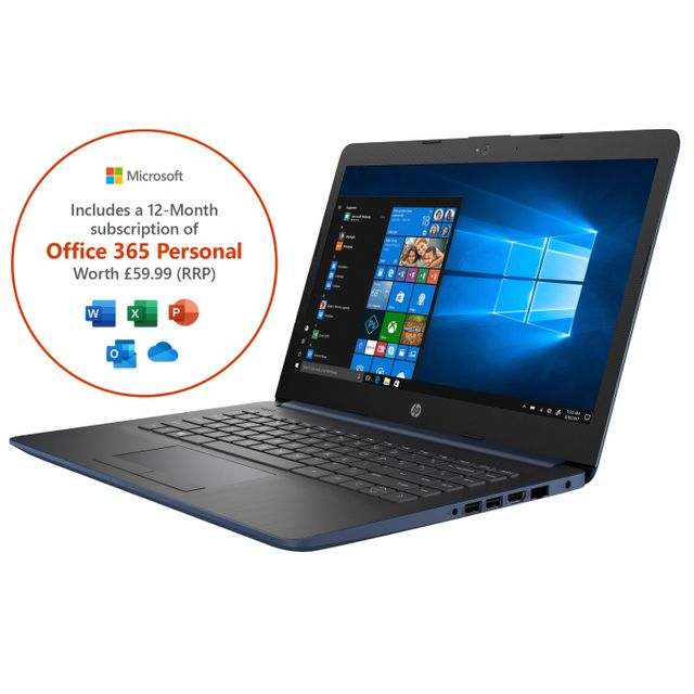"HP Stream 14-cm0038na 14"" Laptop Includes Office 365 Personal 1-year subscription with 1TB Cloud Storage - Blue - 6ZJ50EA#ABU - 1"