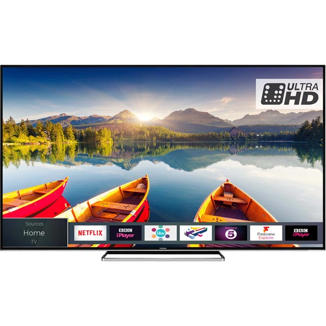 "Toshiba 75U6863DB 75"" Smart 4K Ultra HD TV with HDR and Freeview Play - Black Gloss - [A+ Rated] - 75U6863DB - 1"