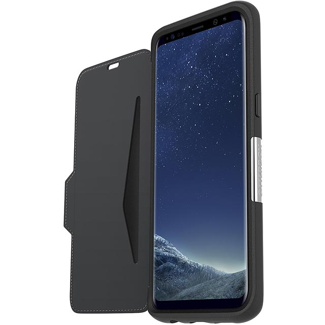 Otterbox Strada Series Folio Case for Samsung Galaxy S8+ - Onyx Black - 77-54633 - 1