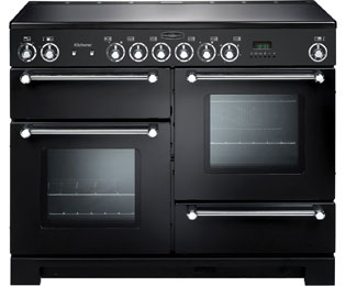 Rangemaster Kitchener KCH110ECBL/C 110cm Electric Range Cooker with Ceramic Hob - Black / Chrome - A/A Rated - KCH110ECBL/C_BK - 1