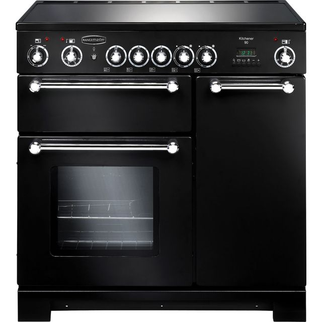 Rangemaster Kitchener KCH90ECBL/C 90cm Electric Range Cooker with Ceramic Hob - Black / Chrome - A/A Rated