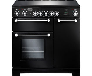 Rangemaster Kitchener KCH90ECBL/C 90cm Electric Range Cooker with Ceramic Hob - Black / Chrome - A/A Rated - KCH90ECBL/C_BK - 1