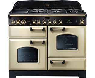Rangemaster Classic Deluxe CDL110DFFCR/B 110cm Dual Fuel Range Cooker - Cream / Brass - A/A Rated - CDL110DFFCR/B_CR - 1
