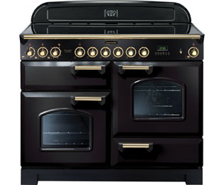 Rangemaster Classic Deluxe CDL110ECBL/B 110cm Electric Range Cooker with Ceramic Hob - Black / Brass - A/A Rated