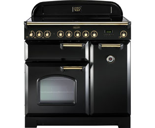 Rangemaster Classic Deluxe 90cm Electric Range Cooker with Ceramic Hob - Black / Brass - A Rated