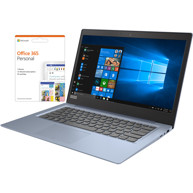 "Lenovo IdeaPad 120S 14"" Laptop Includes Office 365 Personal 1-year subscription with 1TB Cloud Storage - Blue - 81A500H6UK - 1"