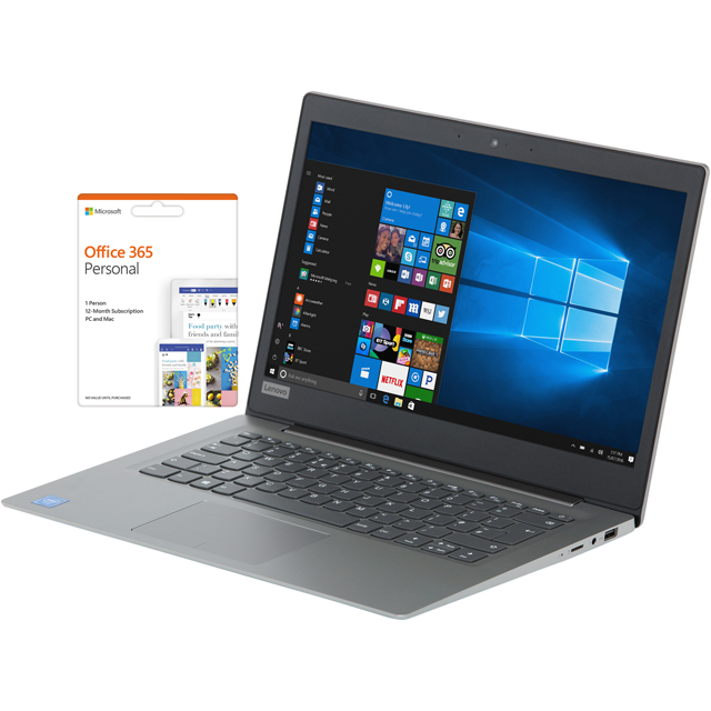 "Lenovo 120S 14"" Cloudbook Laptop Includes Office 365 Personal 1-Year Subscription with 1TB Cloud Storage - Mineral Grey - 81A500HTUK - 1"