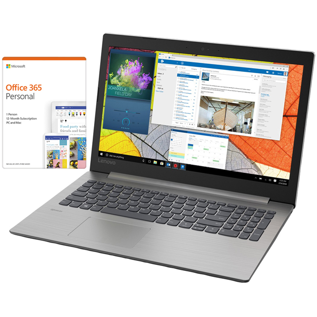 "Lenovo Ideapad 330-15AST 15.6"" Laptop Includes Microsoft Office 365 Personal 1-Year subscription with 1TB Cloud Storage - Platinum Grey - 81D600HAUKBUNOP - 1"