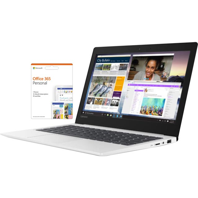 "Lenovo IdeaPad S130-11IGM 11.6"" Laptop includes Office 365 Personal 1-year subscription with 1TB Cloud Storage  - Mineral Grey - 81J10093UK - 1"