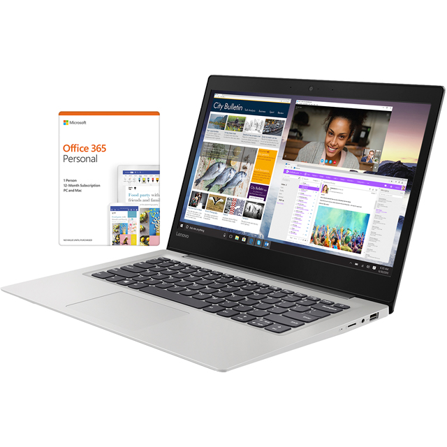 "Lenovo IdeaPad S130-14IGM -b 14"" Laptop includes Office 365 Personal 1-year subscription with 1TB Cloud Storage - Mineral Grey - 81J20076UK - 1"
