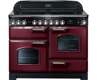 Rangemaster Classic Deluxe 110cm Electric Range Cooker with Ceramic Hob - Cranberry / Chrome - A Rated