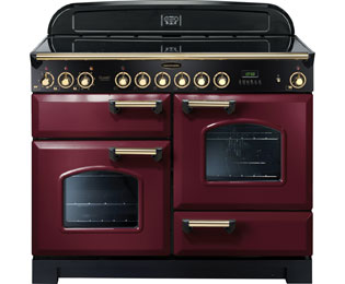 Rangemaster Classic Deluxe 110cm Electric Range Cooker with Ceramic Hob - Cranberry / Brass - A Rated