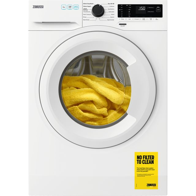 Zanussi ZWF944A2PW Freestanding Washing Machine, Easy Iron, Quick wash, 15 Programs, 9kg Load, 1400rpm Spin, Width 64cm, White [Energy Class A+++]