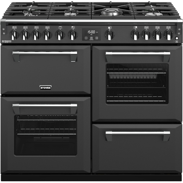 Stoves Colour Boutique Collection Richmond Deluxe S1000G CB 100cm Gas Range Cooker with Electric Grill - Anthracite - A Rated