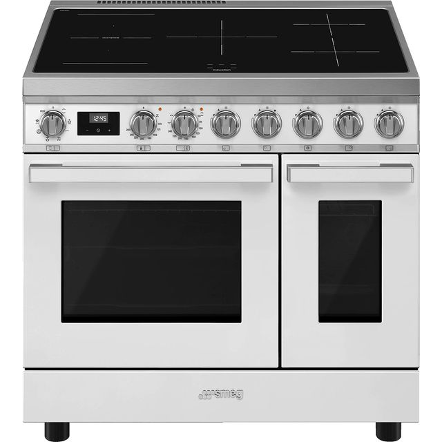 Smeg Portofino CPF92IMWH Electric Range Cooker with Zone induction hob Hob - White - A Rated