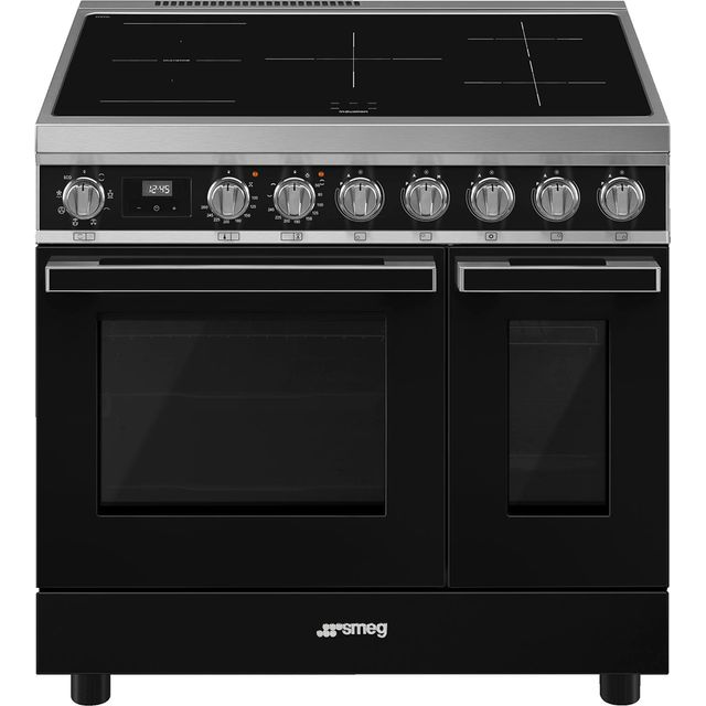 Smeg Portofino CPF92IMBL Electric Range Cooker with Zone induction hob Hob - Black - A Rated