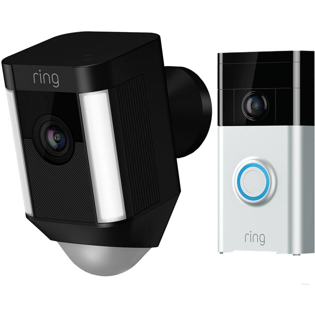 Ring Spotlight Battery Outdoor Cam including Ring Video Doorbell - FHD 1080p (Camera) / HD 720p (Doorbell) - Black - 8SB1S7-BEU0BUN - 1