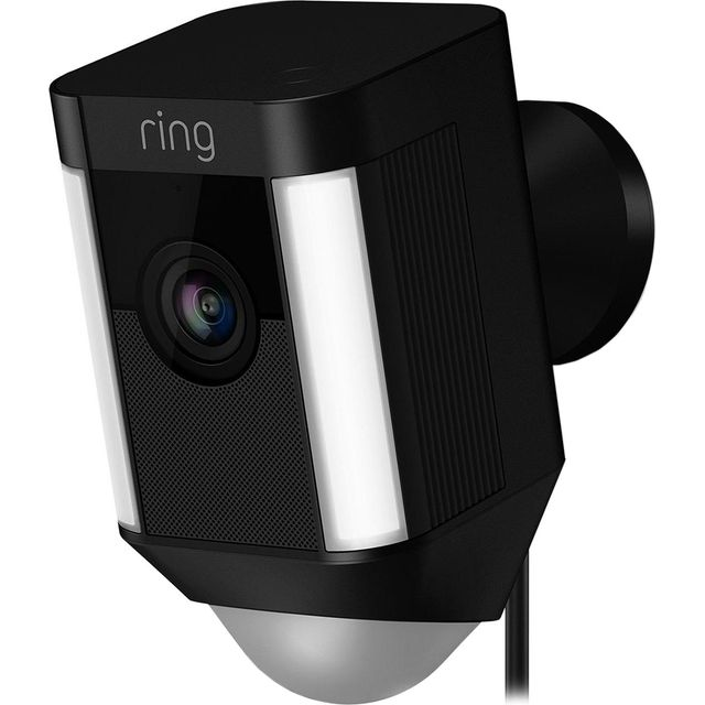 Ring Spotlight Cam Wired Network Surveillance Camera 8SH2P7-BEU0 Smart Home Security Camera in Black