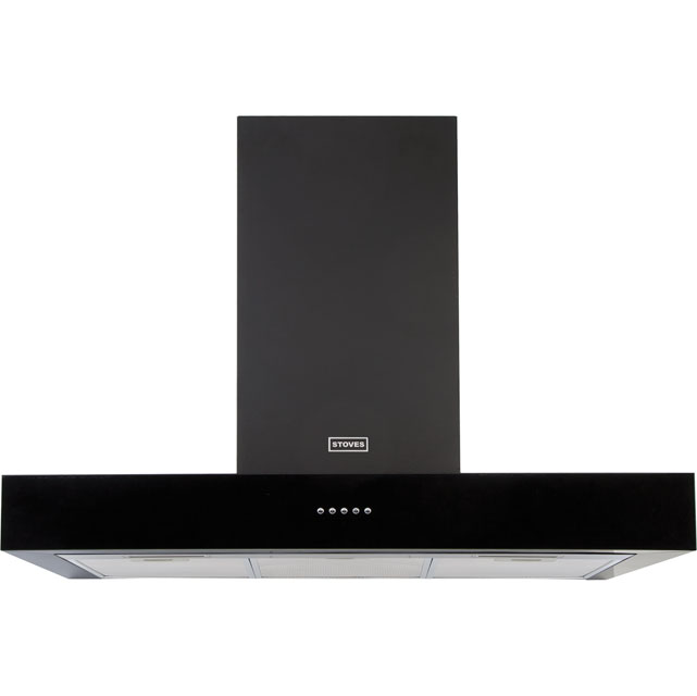Stoves 900SterlingFlatMk2 90 cm Chimney Cooker Hood - Black - C Rated