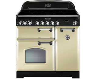 Rangemaster Classic Deluxe 90cm Electric Range Cooker with Induction Hob - Cream / Chrome - A/A Rated