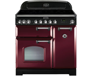 Rangemaster Classic Deluxe 90cm Electric Range Cooker with Induction Hob - Cranberry / Chrome - A/A Rated