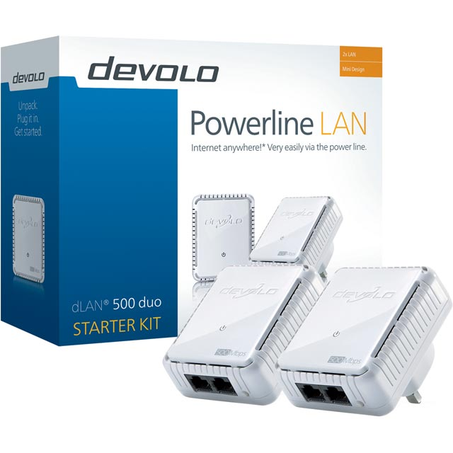 Devolo dLAN® 500 duo Twin Pack 9108 Routers & Networking in White