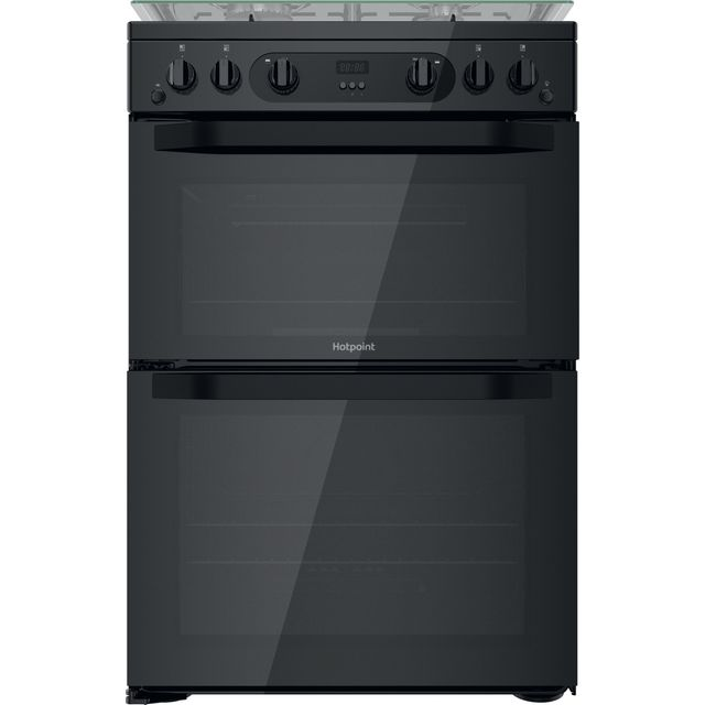 Hotpoint Amelia 60cm Double Oven Gas Cooker with Lid - Black