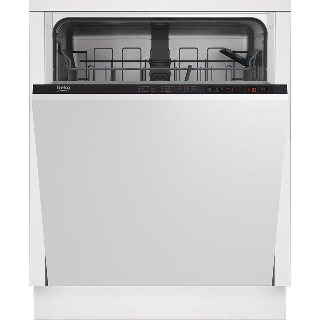 Beko DIN15322 Fully Integrated Standard Dishwasher - Black Control Panel with Fixed Door Fixing Kit - E Rated