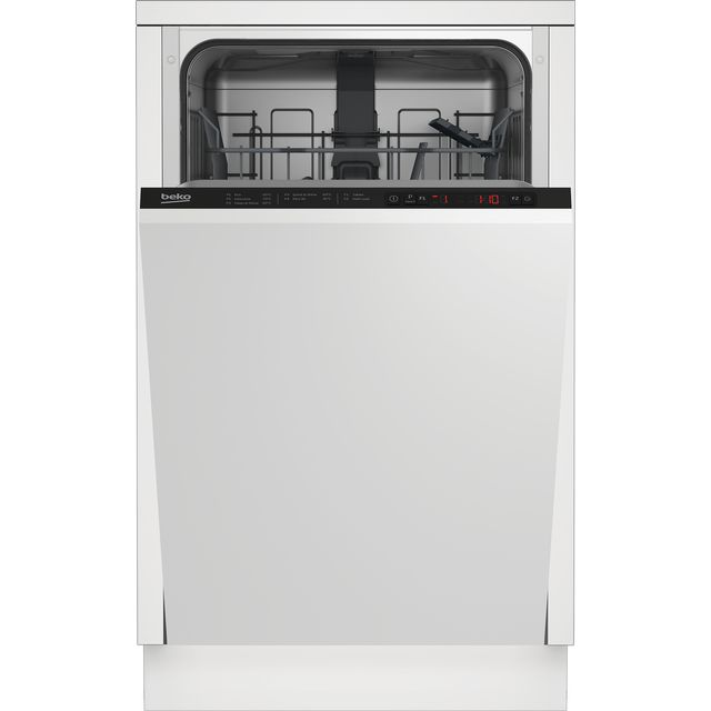 Beko DIS15022 Fully Integrated Slimline Dishwasher - Black Control Panel with Fixed Door Fixing Kit - E Rated