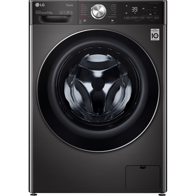 LG V10 F4V1012BTSE Wifi Connected 12Kg Washing Machine with 1400 rpm - Black Steel - A Rated
