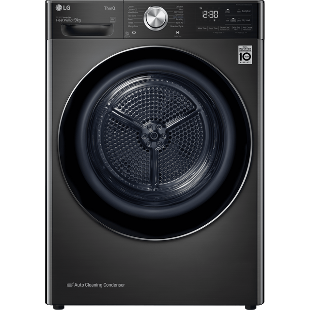 LG V11 FDV1109B Wifi Connected 9Kg Heat Pump Tumble Dryer - Black - A+++ Rated