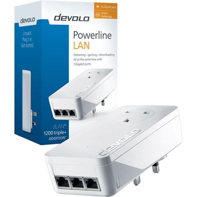 Devolo dLAN Powerline 1200 TRIPLE PLUS 9909 Routers & Networking in White
