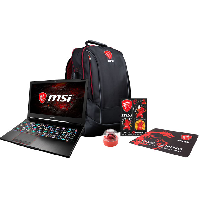 "MSI GF62 7RD-2481UK 15.6"" Gaming Laptop Includes Gaming Backpack, Lucky Edge Of The Cup, Mouse Pad & Gaming Sticker - Grey"