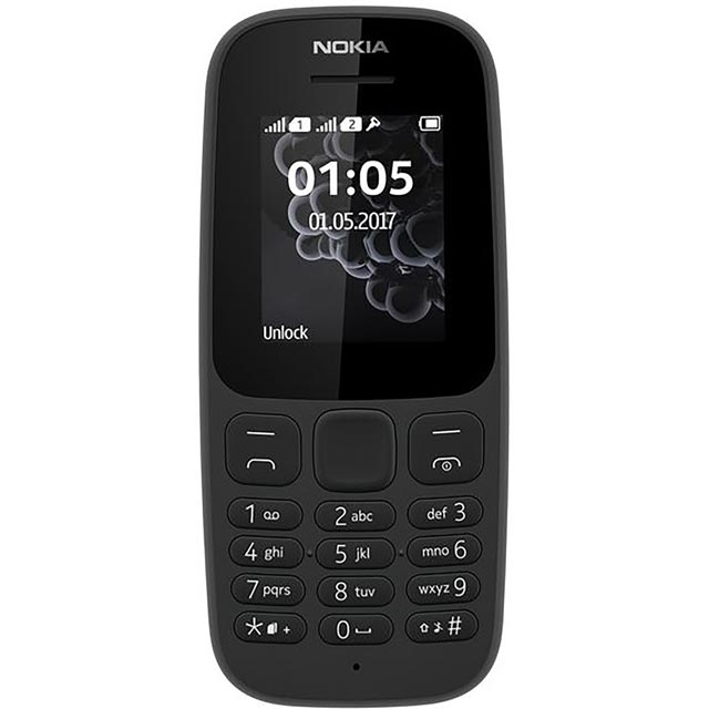 Nokia 105 Candy Bar in Black - A00028303 - 1