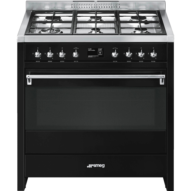 Smeg Opera 90cm Dual Fuel Range Cooker - Black - A+ Rated