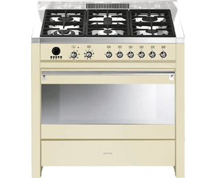 Smeg Opera A1P-9 90cm Dual Fuel Range Cooker - Gloss Cream - B Rated - A1P-9_GC - 1