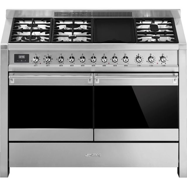 Smeg Opera A4-81 120cm Dual Fuel Range Cooker - Stainless Steel - A/B Rated - A4-81_SS - 1