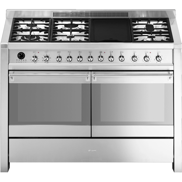 Smeg Opera A4-8 120cm Dual Fuel Range Cooker - Stainless Steel - A/A Rated - A4-8_SS - 1