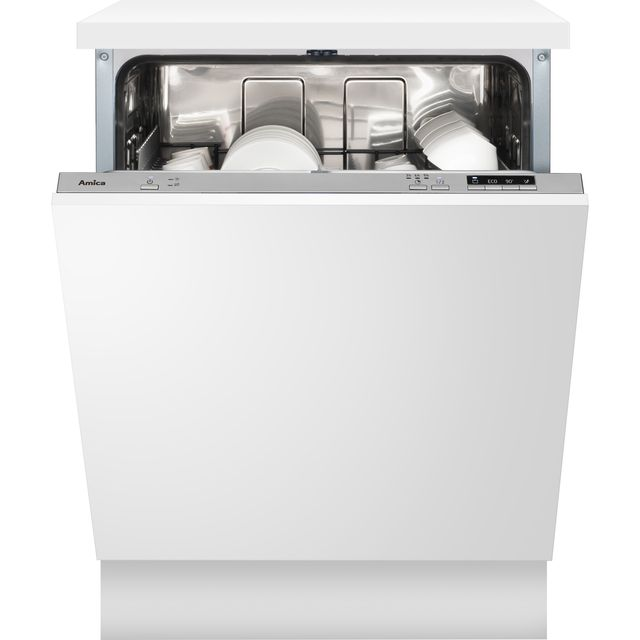 Amica ADI630 Fully Integrated Standard Dishwasher - Silver Control Panel with Fixed Door Fixing Kit - E Rated