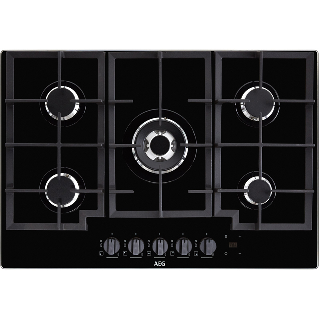 AEG HKB75NB540 Built In Gas Hob - Black - HKB75NB540_BK - 1