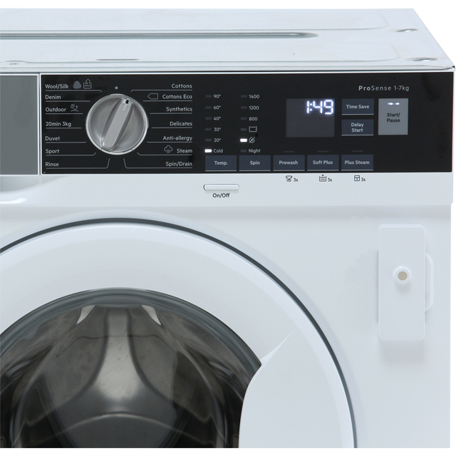AEG ProSteam Technology L7FE7461BI Built In 7Kg Washing Machine - White - L7FE7461BI_WH - 3