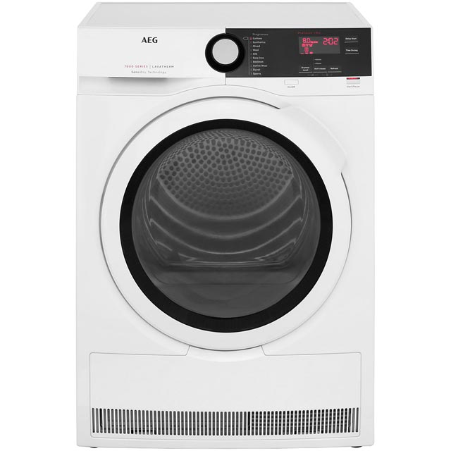 AEG SensiDry Technology T7DBE831R Free Standing Condenser Tumble Dryer in White